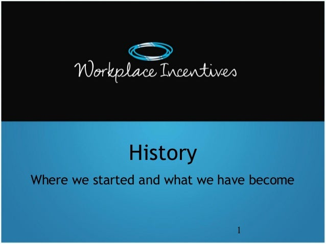 History Where we started and what we have become  1