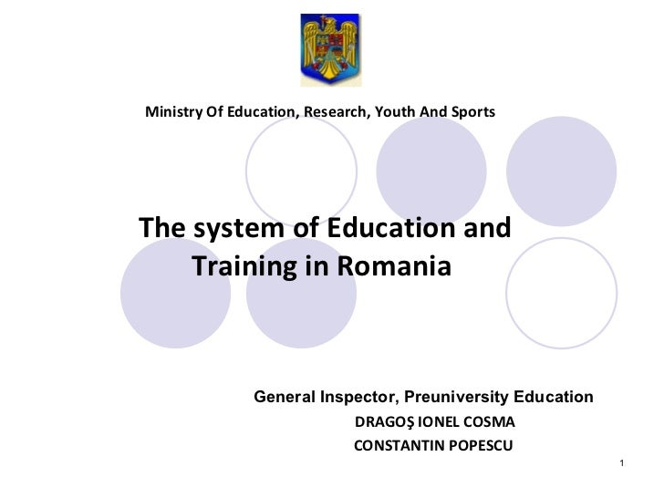 Ministry Of Education, Research, Youth And Sports   General Inspector, Preuniversity Education   DRAGO Ş IONEL COSMA CONST...