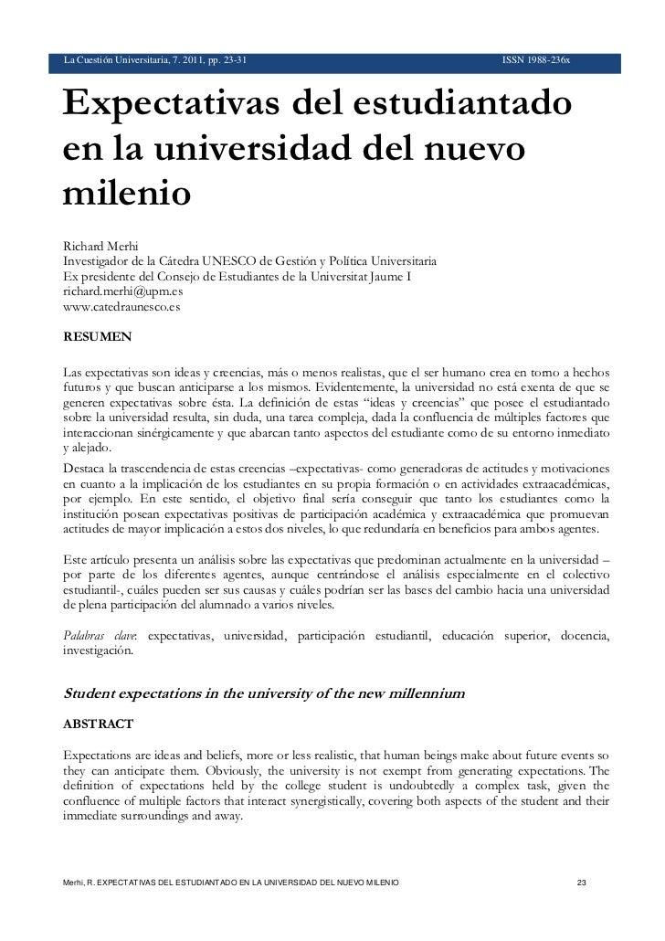 La Cuestión Universitaria 7 - Expectativas del estudiantado universitario