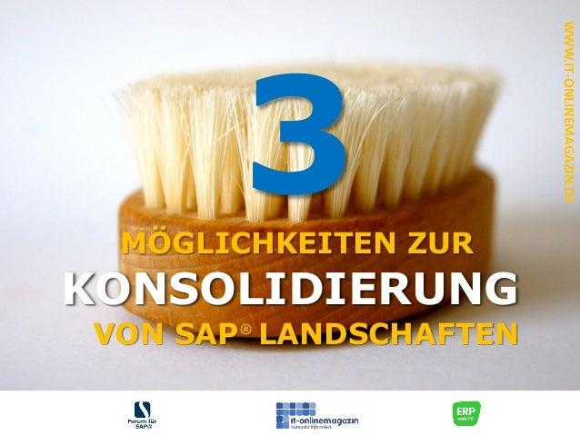 VON SAP LANDSCHAFTEN KONSOLIDIERUNG WWW.IT-ONLINEMAGAZIN.DE 3 ® MÖGLICHKEITEN ZUR