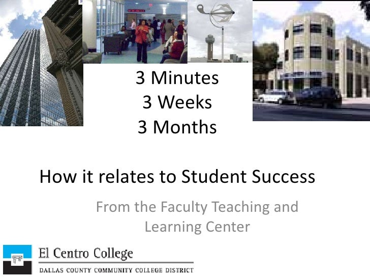 3 Minutes3 Weeks3 MonthsHow it relates to Student Success<br />From the Faculty Teaching and Learning Center<br />