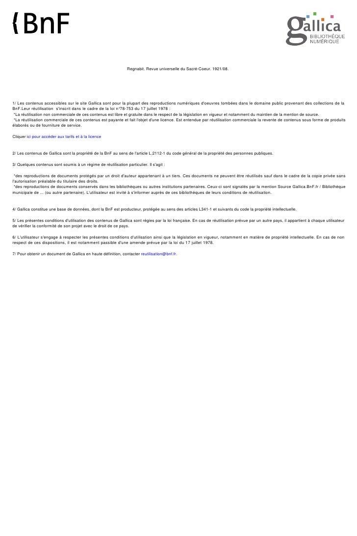 Regnabit. Revue universelle du Sacré-Coeur. 1921/08.     1/ Les contenus accessibles sur le site Gallica sont pour la plup...
