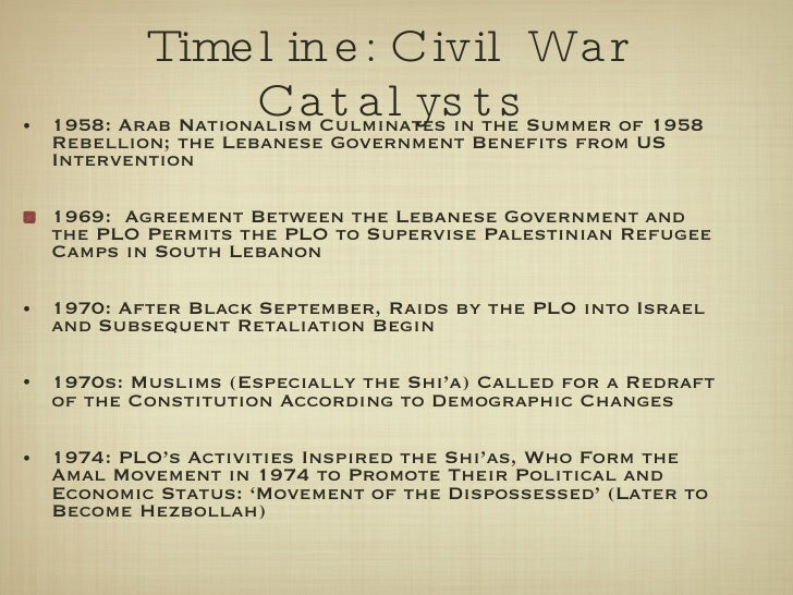 Timeline: Civil War Catalysts <ul><li>1958: Arab Nationalism Culminates in the Summer of 1958 Rebellion; the Lebanese Gove...
