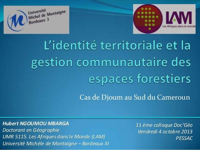Cas de Djoum au Sud du Cameroun  Hubert NGOUMOU MBARGA Doctorant en Géographie UMR 5115. Les Afriques dans le Monde (LAM) ...