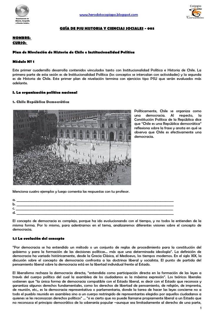 www.herodotocopiapo.blogspot.com                                 GUÍA DE PSU HISTORIA Y CIENCIAS SOCIALES - 003  NOMBRE: C...