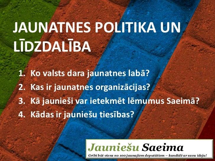JAUNATNES POLITIKA UNLĪDZDALĪBA1.   Ko valsts dara jaunatnes labā?2.   Kas ir jaunatnes organizācijas?3.   Kā jaunieši var...