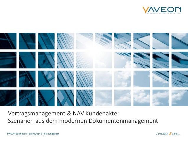 21.05.2014 Seite 1 Vertragsmanagement & NAV Kundenakte: Szenarien aus dem modernen Dokumentenmanagement YAVEON Business IT...