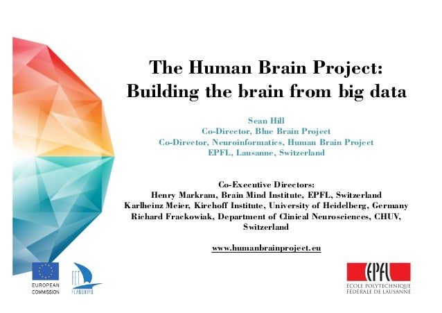 The Human Brain Project: Building the brain from big data ! Sean Hill Co-Director, Blue Brain Project Co-Director, Neuroi...