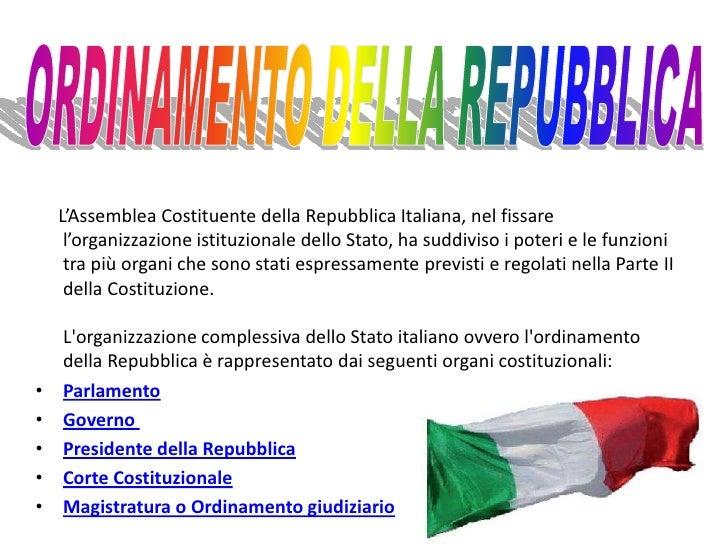 Ordinamento della repubblica for Parlamento della repubblica italiana