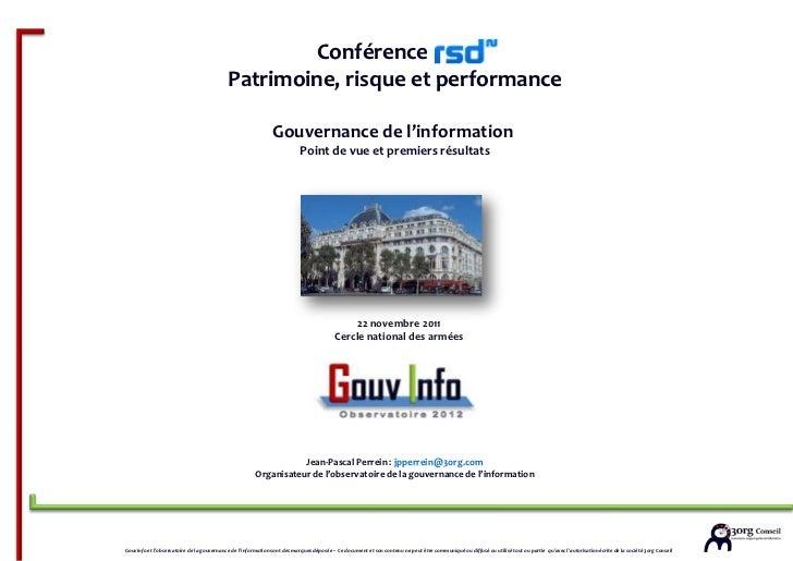 3org conseil - Gouvinfo - RSD - Conférence patrimoine et gouvernance de l'information - Mieux gérer l'information, mieux valoriser l'information