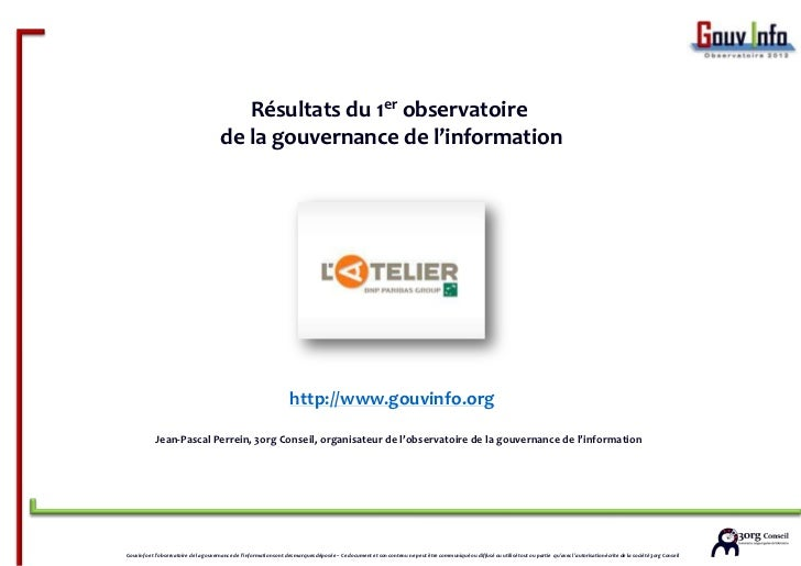 3org conseil pour l'atelier BNP Paribas, résultats de l'observatoire de la  gouvernance de l'information (atelier bnpp) - v1