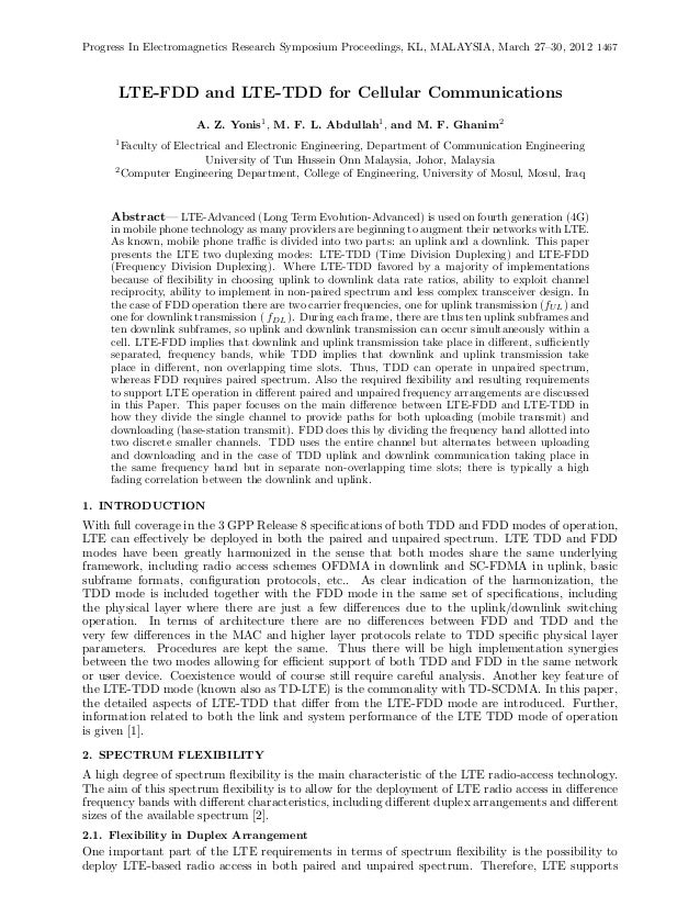 Progress In Electromagnetics Research Symposium Proceedings, KL, MALAYSIA, March 27–30, 2012 1467      LTE-FDD and LTE-TDD...
