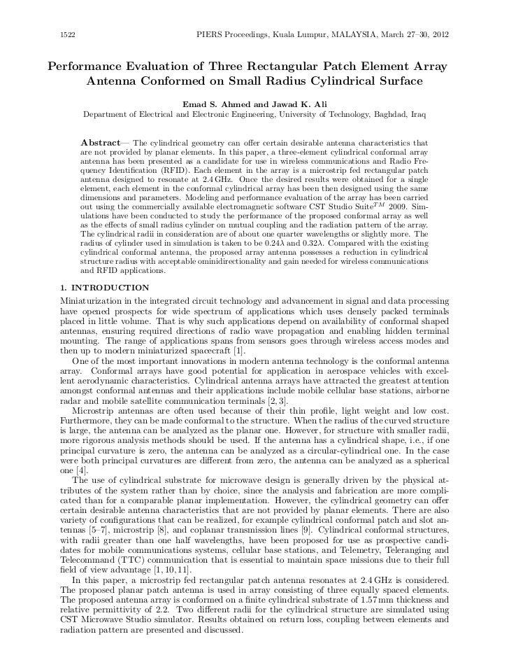 1522                                   PIERS Proceedings, Kuala Lumpur, MALAYSIA, March 27–30, 2012Performance Evaluation ...