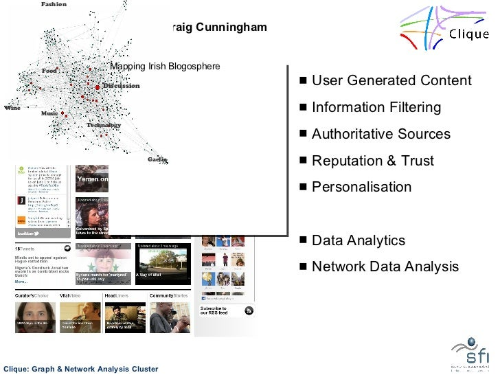 Clique SRC:  Pádraig Cunningham <ul><li>User Generated Content </li></ul><ul><li>Information Filtering </li></ul><ul><li>A...
