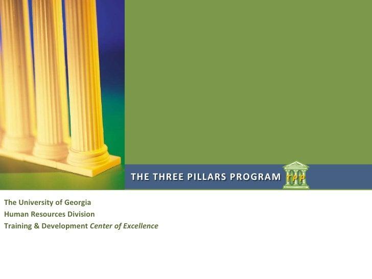 THE THREE PILLARS PROGRAM T P PThe University of GeorgiaHuman Resources DivisionTraining & Development Center of Excellence