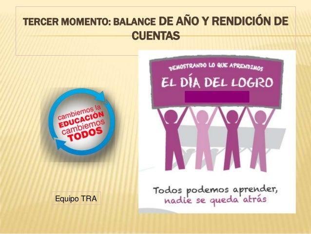 TERCER MOMENTO: BALANCE DE AÑO Y RENDICIÓN DE CUENTAS . Equipo TRA