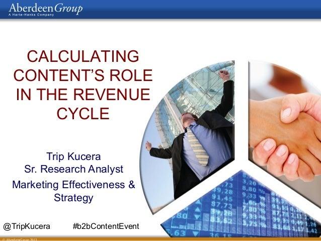 CALCULATINGCONTENT'S ROLEIN THE REVENUECYCLETrip KuceraSr. Research AnalystMarketing Effectiveness &Strategy@TripKucera #b...