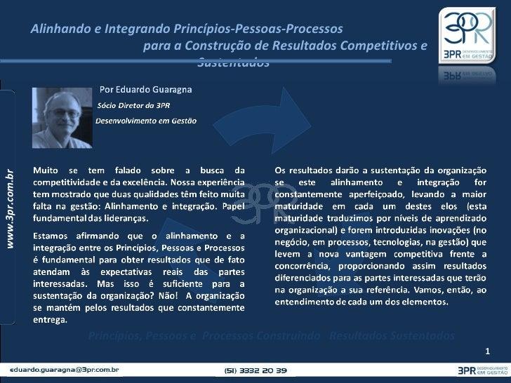 Alinhando e Integrando Princípios-Pessoas-Processos  para a Construção de Resultados Competitivos e Sustentados