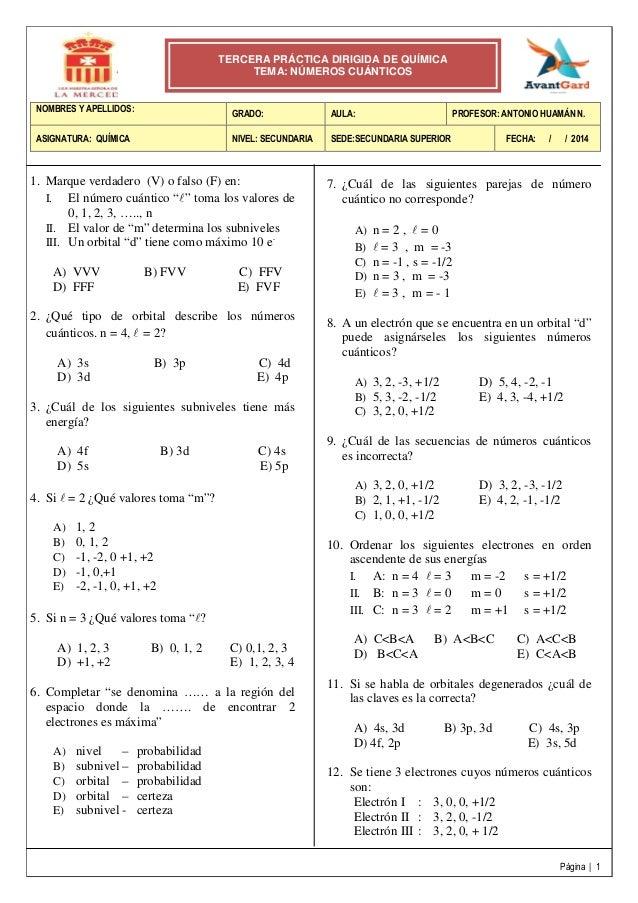 3° práctica dirigida 5 to de secundaria  (números cuánticos_)