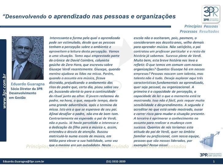 3PR Desenvolvendo O Aprendizado nas Pessoas e Organizações