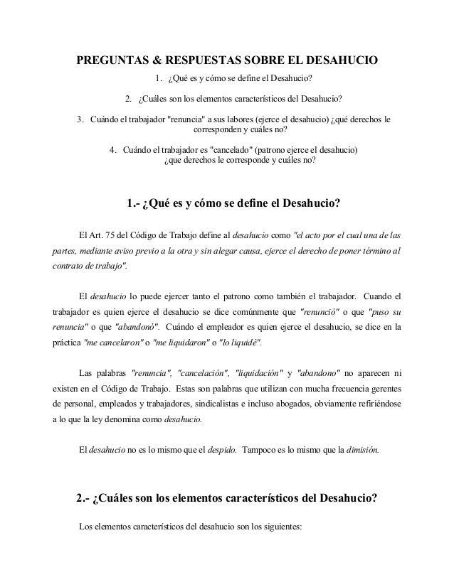 3) preguntas & respuestas sobre el desahucio
