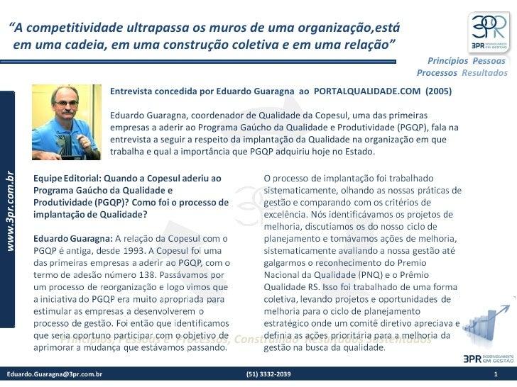 3PR Entrevista Portal Qualidade 2005