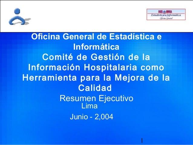 1 Oficina General de Estadística e Informática Comité de Gestión de la Información Hospitalaria como Herramienta para la M...