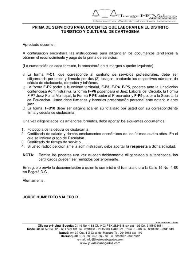 PRIMA DE SERVICIOS PARA DOCENTES QUE LABORAN EN EL DISTRITO                    TURISTICO Y CULTURAL DE CARTAGENAApreciado ...