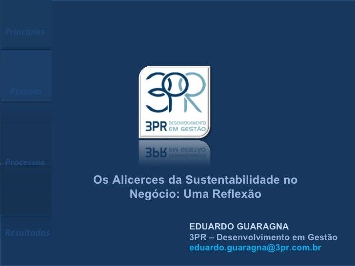 EDUARDO GUARAGNA 3PR – Desenvolvimento em Gestão [email_address] Princípios  Pessoas  Processos  Resultados Os Alicerces d...