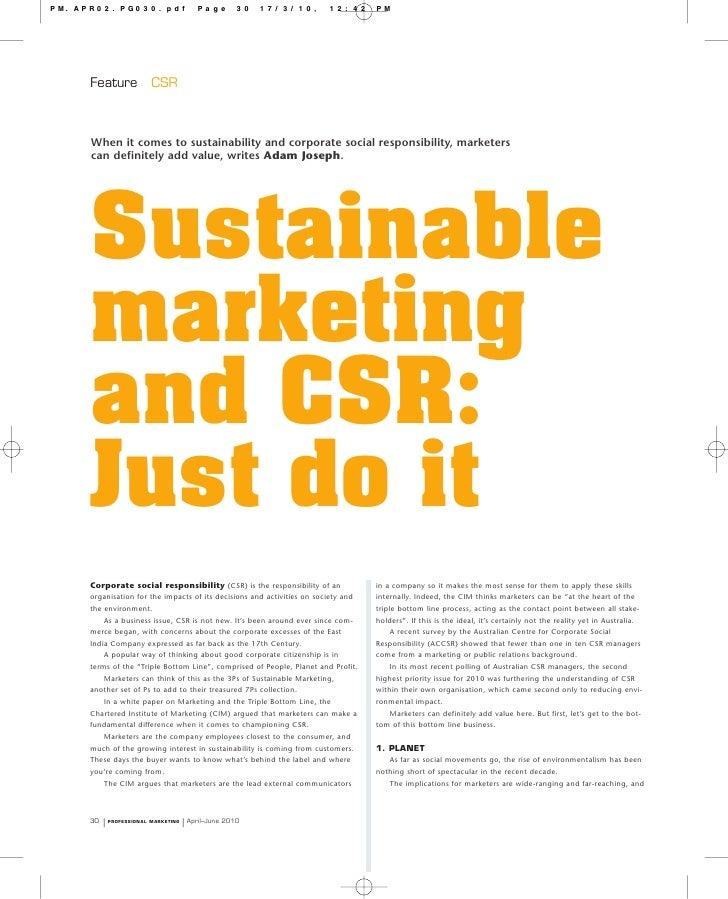 3P's of Sustainable Marketing Adam Joseph April 2010