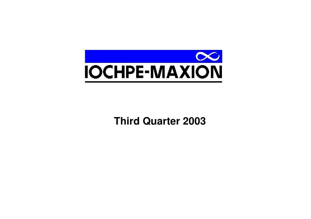 Third Quarter 2003