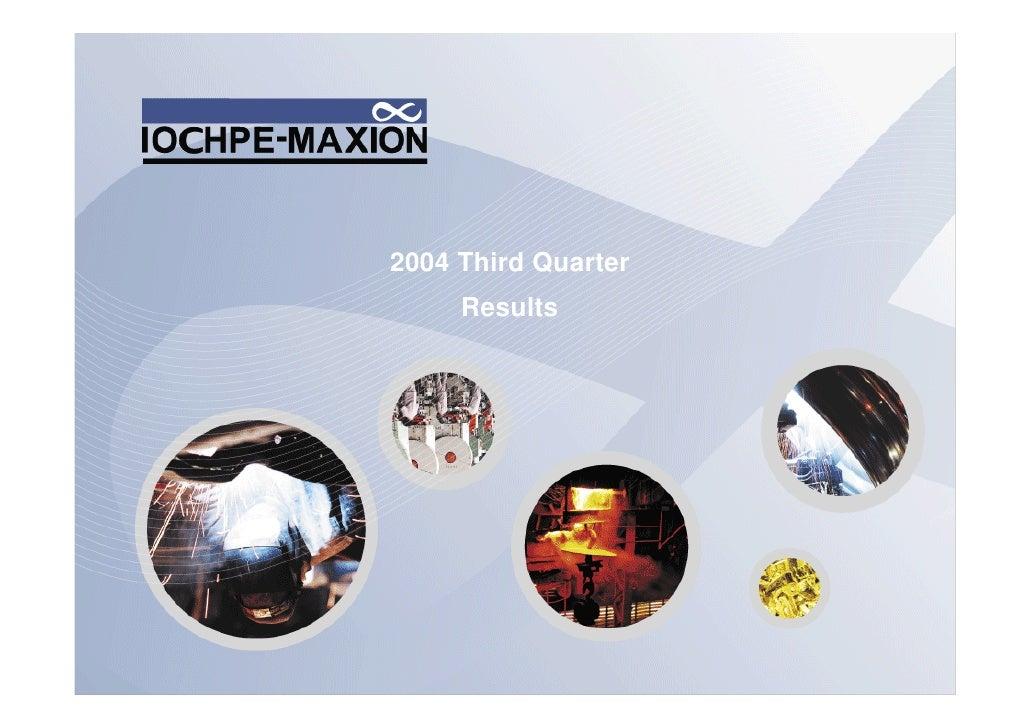 2004 Third Quarter      Results