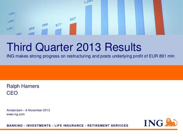 Analyst Presentation Third Quarter 2013 Results. ING posts underlying profit of EUR 891 mln.