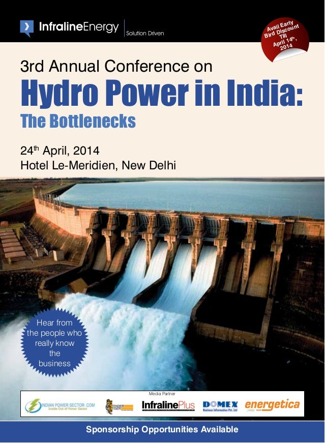 3rd Annual Conference on Hydro Power in India on 24th April in New Delhi