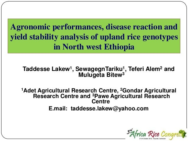 Agronomic performances, disease reaction and yield stability analysis of upland rice genotypes in North west Ethiopia Tadd...