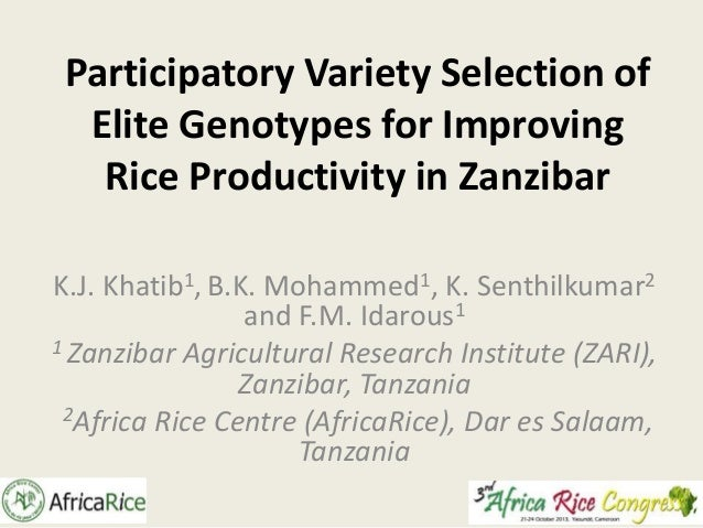 Th1_Participatory Variety Selection of Elite Genotypes for Improving Rice Productivity in Zanzibar