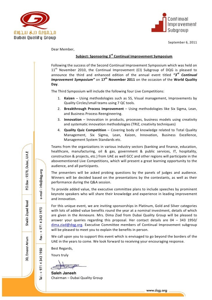 September 6, 2011Dear Member,                Subject: Sponsoring 3rd Continual Improvement SymposiumFollowing the success ...