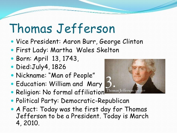 thomas jefferson 3 essay Thomas jefferson (democratic (illustrated essay about thomas jefferson on the occasion of a visit to monticello) was the daughter of martha jefferson and.