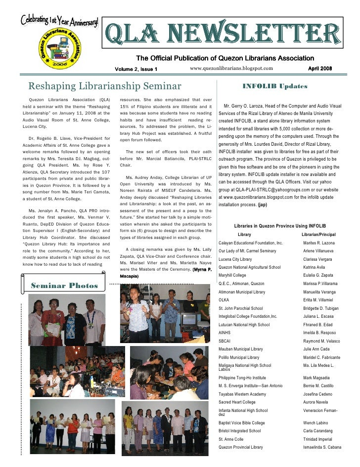 QLA NEWSLETTER                                                         The Official Publication of Quezon Librarians Assoc...