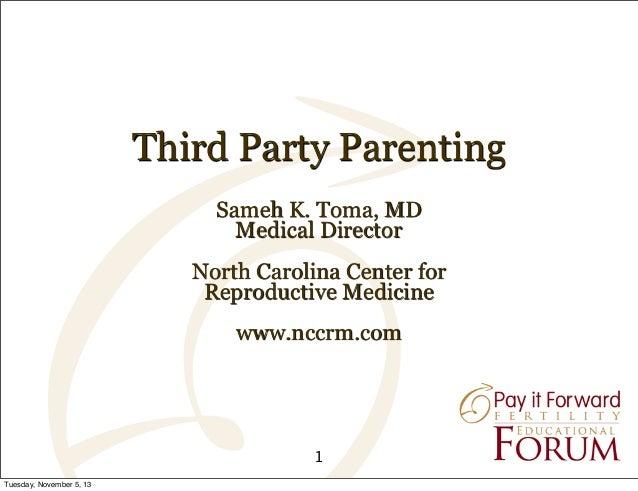 Third Party Parenting Sameh K. Toma, MD Medical Director North Carolina Center for Reproductive Medicine www.nccrm.com  1 ...