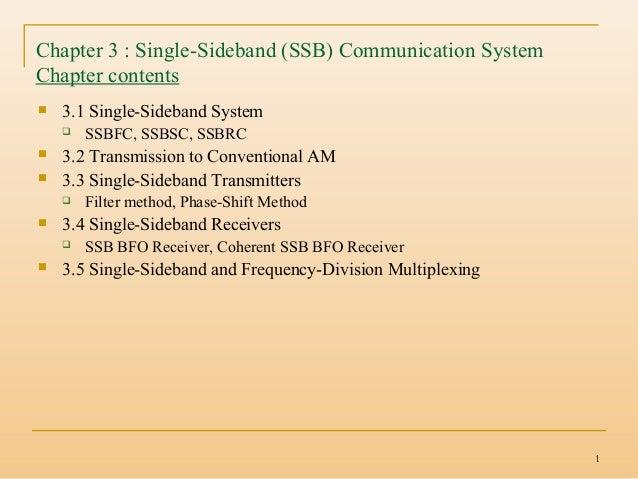 1 Chapter 3 : Single-Sideband (SSB) Communication System Chapter contents  3.1 Single-Sideband System  SSBFC, SSBSC, SSB...