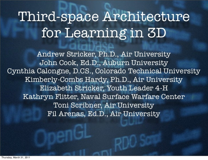 Third-space Architecture                for Learning in 3D            Andrew Stricker, Ph.D., Air University             J...