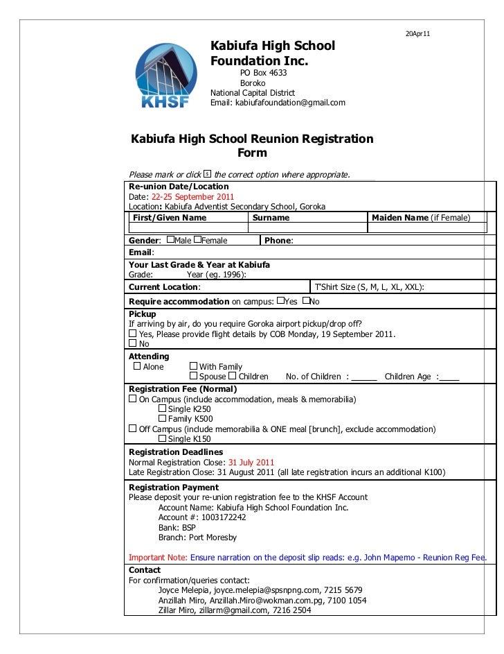 Registrations Forms For Family Reunion 3 Reunion Registration Form