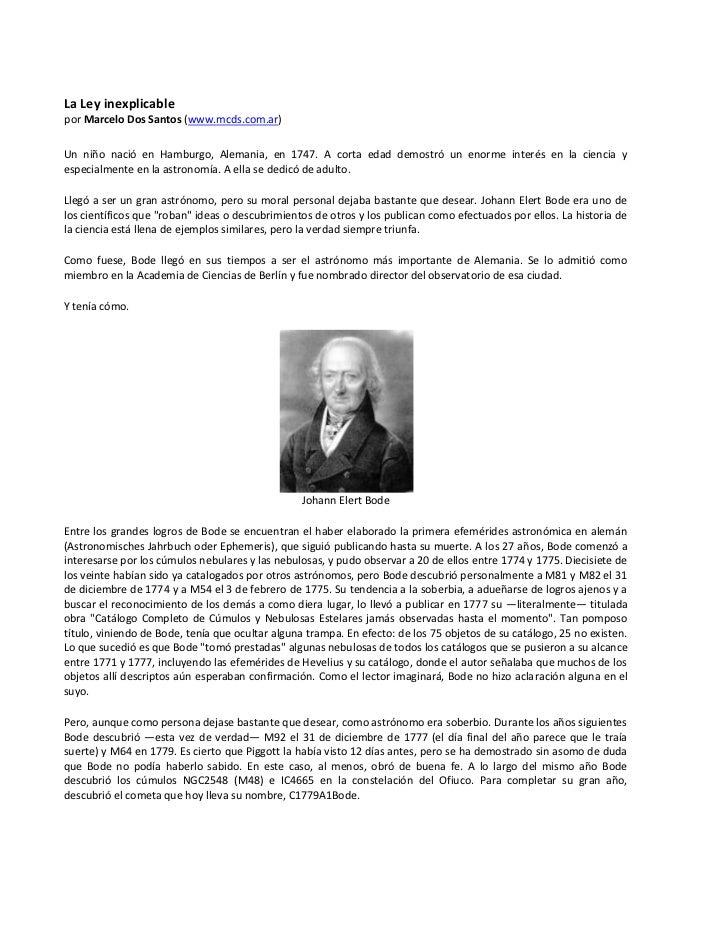 La Ley inexplicable por Marcelo Dos Santos (www.mcds.com.ar) Un niño nació en Hamburgo, Alemania, en 1747. A corta edad de...