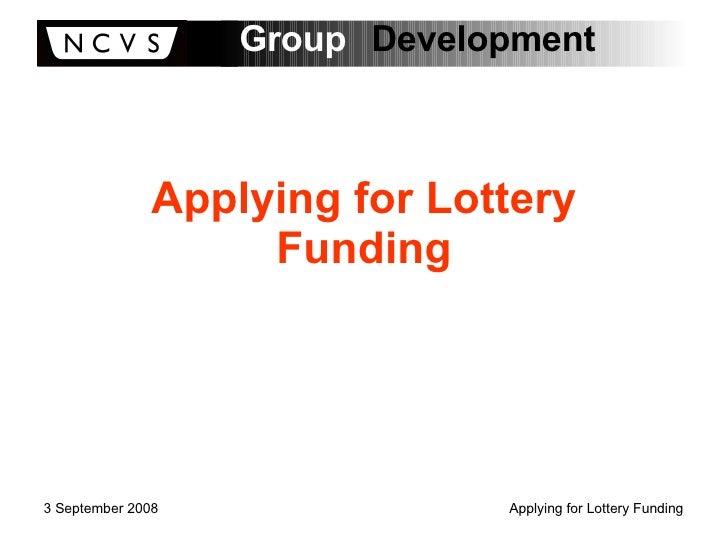 Applying for Lottery Funding