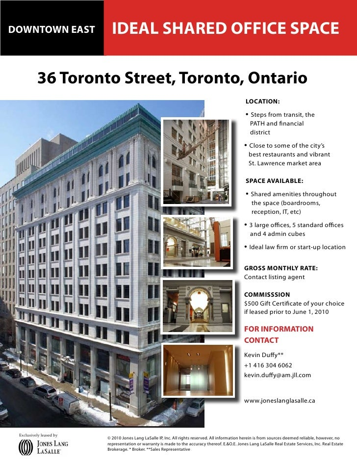 DOWNTOWN EAST              IDEAL SHARED OFFICE SPACE            36 Toronto Street, Toronto, Ontario                       ...