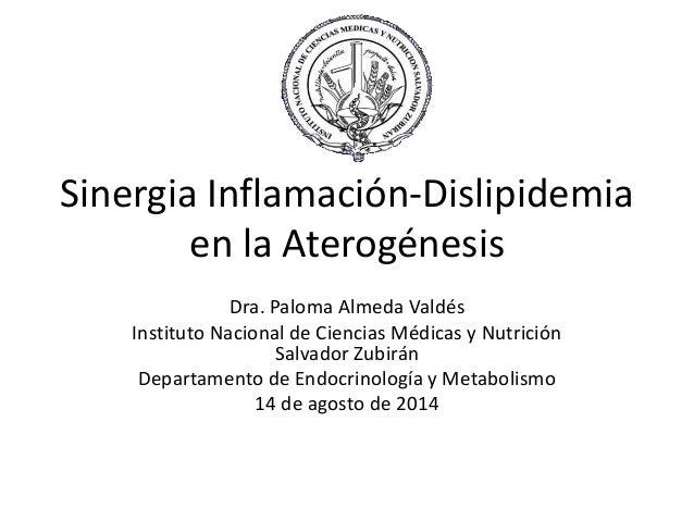 Sinergia Inflamación-Dislipidemia  en la Aterogénesis  Dra. Paloma Almeda Valdés  Instituto Nacional de Ciencias Médicas y...