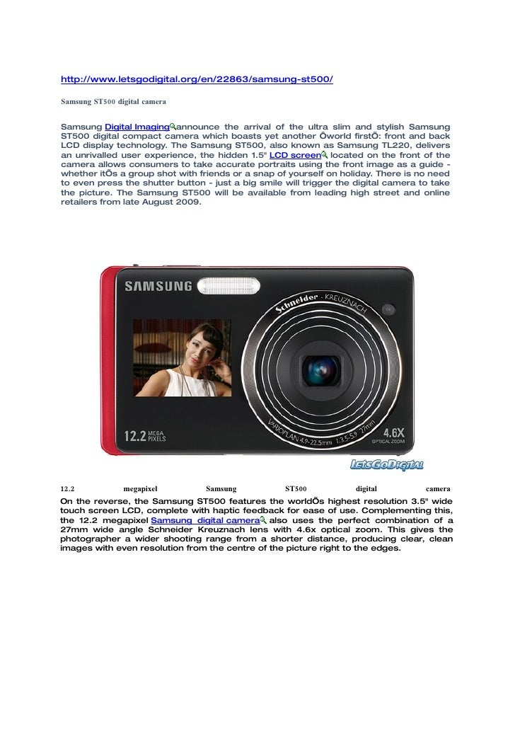 Samsung ST500 digital camera