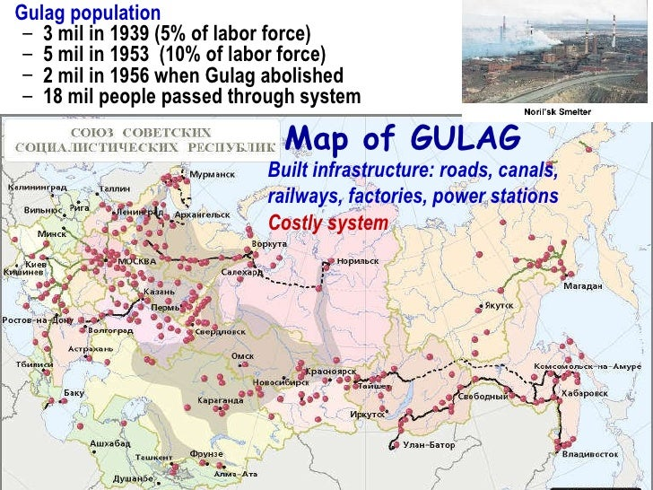 Map Of Stalin's Gulag Forced Labor Cs In Soviet Russia 1951