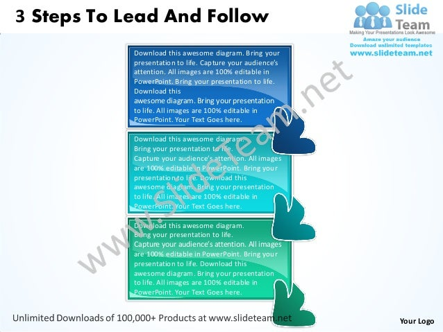 3 steps to lead and follow flowchart free power point templates